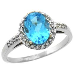 Natural 1.3 ctw Swiss-blue-topaz & Diamond Engagement Ring 14K White Gold - REF-32W2K