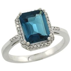 Natural 2.63 ctw London-blue-topaz & Diamond Engagement Ring 10K White Gold - REF-33K6R