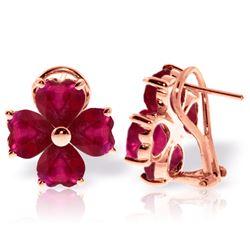 Genuine 7.2 ctw Ruby Earrings Jewelry 14KT Rose Gold - REF-112Z2N