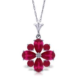 Genuine 2.23 ctw Ruby Necklace Jewelry 14KT White Gold - REF-35H5X