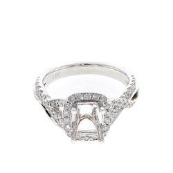 0.48 CTW Diamond Semi Mount Ring 14K White Gold - REF-58F2N
