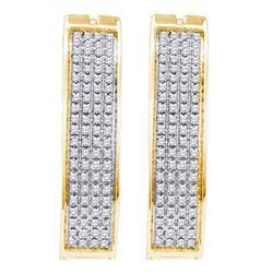0.50 CTW Prong-set Diamond Four Row Hoop Earrings 10KT Yellow Gold - REF-34N4F