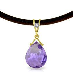Genuine 6.51 ctw Amethyst & Diamond Necklace Jewelry 14KT Yellow Gold - REF-26Z9N