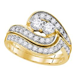1 CTW 2-Stone Diamond Bridal Wedding Engagement Ring 14KT Yellow Gold - REF-104K9W