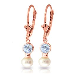 Genuine 2.7 ctw Aquamarine & Pearl Earrings Jewelry 14KT Rose Gold - REF-37W2Y