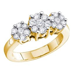 0.25 CTW Diamond Triple Flower Cluster Ring 10KT Yellow Gold - REF-32M9H