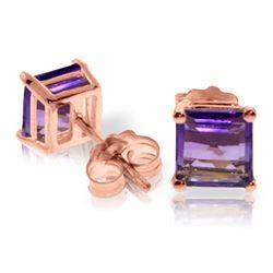 Genuine 1.75 ctw Amethyst Earrings Jewelry 14KT Rose Gold - REF-24P3H