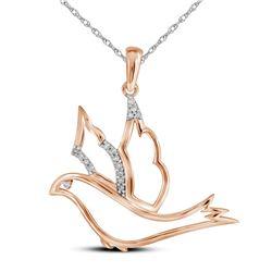 0.05 CTW Diamond Animal Dove Bird Pendant 10KT Rose Gold - REF-10Y5X