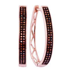0.33 CTW Red Color Diamond Double Row Hoop Earrings 10KT Rose Gold - REF-37K5W