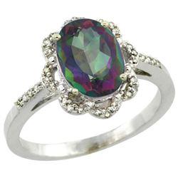 Natural 1.85 ctw Mystic-topaz & Diamond Engagement Ring 14K White Gold - REF-38W6K