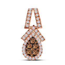 0.92 CTW Cognac-brown Color Diamond Teardrop Cluster Pendant 10KT Rose Gold - REF-75M2H