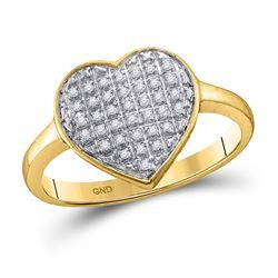 0.10 CTW Diamond Heart Love Ring 10KT Yellow Gold - REF-12F2N