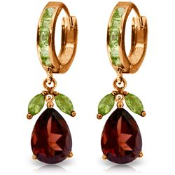 Genuine 14.3 ctw Garnet & Peridot Earrings Jewelry 14KT Rose Gold - REF-93Z3N