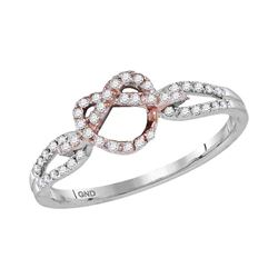 0.15 CTW Diamond Infinity Knot Heart Ring 10KT Two-tone Gold - REF-22K4W