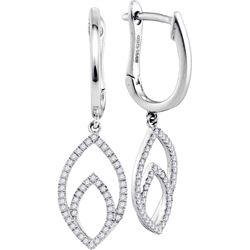 0.25 CTW Diamond Double Nested Oval Dangle Earrings 10KT White Gold - REF-31K4W