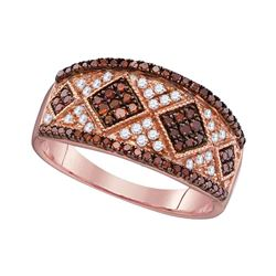 0.50 CTW Red Color Diamond Cluster Ring 10KT Rose Gold - REF-30X2Y