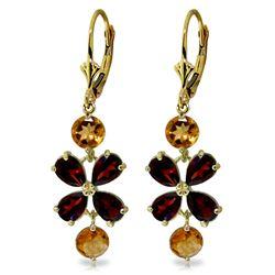 Genuine 5.32 ctw Garnet & Citrine Earrings Jewelry 14KT Yellow Gold - REF-50H3X