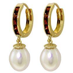 Genuine 9.3 ctw Garnet & Pearl Earrings Jewelry 14KT Yellow Gold - REF-44X4M