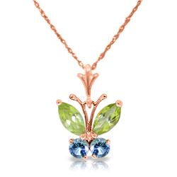 Genuine 0.60 ctw Peridot & Blue Topaz Necklace Jewelry 14KT Rose Gold - REF-23T5A
