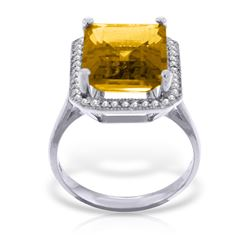 Genuine 5.8 ctw Citrine & Diamond Ring Jewelry 14KT White Gold - REF-82T2A