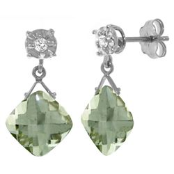 Genuine 17.56 ctw Green Amethyst & Diamond Earrings Jewelry 14KT White Gold - REF-48W3Y