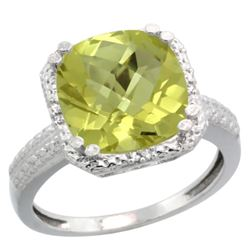 Natural 5.96 ctw Lemon-quartz & Diamond Engagement Ring 10K White Gold - REF-30H2W