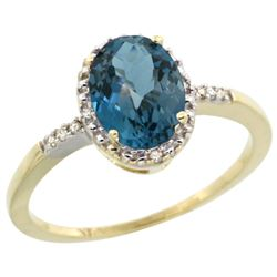 Natural 1.2 ctw London-blue-topaz & Diamond Engagement Ring 14K Yellow Gold - REF-23N2G