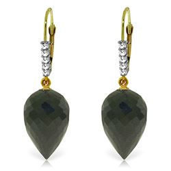 Genuine 24.65 ctw Black Spinel & Diamond Earrings Jewelry 14KT Yellow Gold - REF-46Z7N