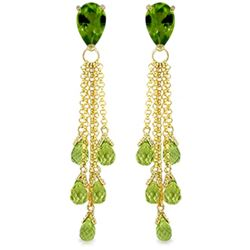Genuine 15.5 ctw Peridot Earrings Jewelry 14KT Yellow Gold - REF-51V8W