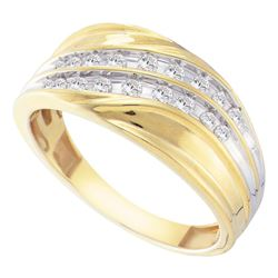 0.33 CTW Mens Channel-set Diamond Diagonal Double Row Ring 10KT Yellow Gold - REF-37Y5X