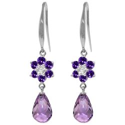 Genuine 5.51 ctw Amethyst & Diamond Earrings Jewelry 14KT White Gold - REF-47M4T