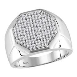 0.50 CTW Mens Pave-set Diamond Octagon Cluster Ring 10KT White Gold - REF-94M5H