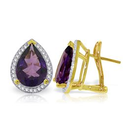 Genuine 6.82 ctw Amethyst & Diamond Earrings Jewelry 14KT Yellow Gold - REF-119P7H