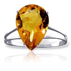Genuine 5 ctw Citrine Ring Jewelry 14KT White Gold - REF-34Y3F