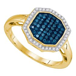 0.33 CTW Blue Color Diamond Octagon Geometric Cluster Ring 10KT Yellow Gold - REF-26W9K
