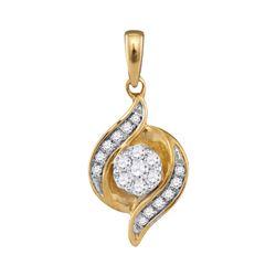 0.19 CTW Diamond Flower Cluster Pendant 14KT Yellow Gold - REF-26N3F