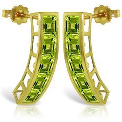 Genuine 4.5 ctw Peridot Earrings Jewelry 14KT Yellow Gold - REF-38P5H