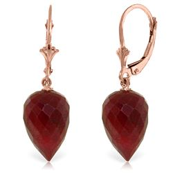Genuine 26.1 ctw Ruby Earrings Jewelry 14KT Rose Gold - REF-37W8Y