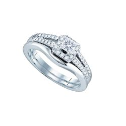 0.50 CTW Princess Diamond Bridal Engagement Ring 14k White Gold - REF-89W9K