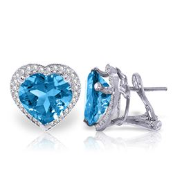 Genuine 12.88 ctw Blue Topaz & Diamond Earrings Jewelry 14KT White Gold - REF-107A3K