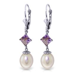 Genuine 9.5 ctw Pearl & Amethyst Earrings Jewelry 14KT White Gold - REF-24W4Y