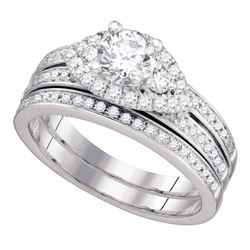 1 CTW Diamond Bridal Wedding Engagement Ring 14KT White Gold - REF-240W2K