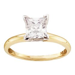 0.49 CTW Princess Diamond Solitaire Bridal Engagement Ring 14KT Yellow Gold - REF-89N9F