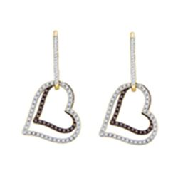 0.55 CTW Cognac-brown Color Diamond Dangle Double Heart Earrings 10KT Yellow Gold - REF-49K5W
