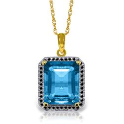 Genuine 7.8 ctw Blue Topaz & Black Diamond Necklace Jewelry 14KT Yellow Gold - REF-70H4X