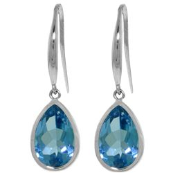 Genuine 5 ctw Blue Topaz Earrings Jewelry 14KT White Gold - REF-35X2M