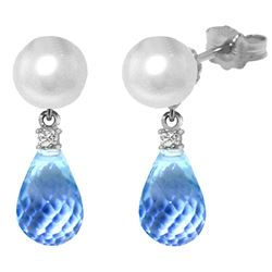 Genuine 6.6 ctw Blue Topaz & Diamond Earrings Jewelry 14KT White Gold - REF-27K6V