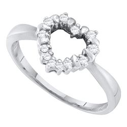 0.10 CTW Diamond Heart Outline Ring 10KT White Gold - REF-12K2W