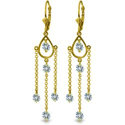 Genuine 3 ctw Aquamarine Earrings Jewelry 14KT Yellow Gold - REF-61P5H