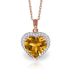 Genuine 3.24 ctw Citrine & Diamond Necklace Jewelry 14KT Rose Gold - REF-59V3W
